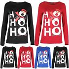 Womens Christmas T Shirt Ladies HOHOHO Snowman Hat Long Sleeve Jersey Xmas Top