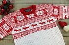 Mens Ladies Red Christmas Xmas Reindeer Jumper Sweater S-XXL - Made in UK