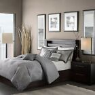 Luxury 6pc Grey Woven Zig Zag Duvet Cover Bedding Set AND Decorative Pillows
