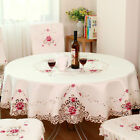 Embroidered Floral Fabric Cutwork Round Tablecloth White Lace Table Topper/Cloth