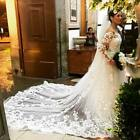 Wedding Veils Cathedral Long 1T Appliques With Comb Bridal White Ivory Lace