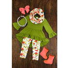 3pcs Kid Baby Girl Outfit Cotton Clothes Tops T Shirt Dress+Floral Leggings 1-7Y