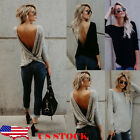 Us Stock Women Sexy Long Sleeve Twisted Open Back Loose Tops Casual Shirt Blouse