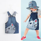 Cute Kids Baby Girls Toddler Denim Jeans Kitten Cat Overalls Dress Skirt Clothes