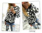 Women New Winter Warm Top Long Sleeve Stone Print Pullover Sweater Blouse E9951