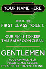 GENTLEMAN RAILWAY METAL TOILET SIGN FUNNY CAN BE PERSONALISED.INSIDE OUTSIDE USE