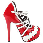 SHOW STORY Fashion Two Tone Cross Over Strappy Platform Stiletto Heel Pumps