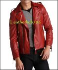 Handmade Men's Leather Jacket Red Slim Fit Motorcycle Designer Real Lambskin 368