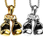 """22"""" Mens Belcher Chain Gold or Silver Plated Boxing Gloves Boys Necklace Pendant"""