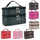 Moda portatile Double-Deck Toiletry Bag Dot modello Makeup Bag nuova CaF8