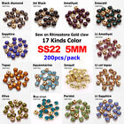 17 Color Sew on Rhinestone Gold Claw Stones Round Glass 5mm 200pcs for dresses