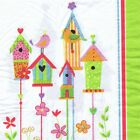 SERVIETTES EN PAPIER OISEAUX NICHOIRS NATURE. PAPER NAPKINS BIRD HOUSE NATURE