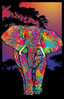 ELEPHANT PAINTED BLACKLIGHT Art Silk Poster 12x18 24x36 24x43