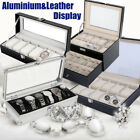 UK Leather&Aluminium Display Watch Box Case Organizer For Jewelry Storage Glass