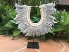 NEW!!! Swan Soft silvery grey feather & shell tribal necklace boho