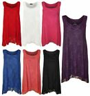 Sleeveless Lace Lined Dipped Hanky hem Flared Vest Top Ladies Lace Uneven Top