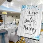 Personalised Wedding Welcome Sign  A1 / A2 / A3 Sizes -RUSTIC WOOD-BLUE FLORAL