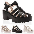 NEW WOMENS PLATFORM STRAPPY LADIES BLOCK HEEL GLADIATOR SANDALS SHOES SIZE 3-8