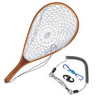 Goture Fly Fishing Landing Net Rubber Mesh Wood Hand Net with Lanyard Rope