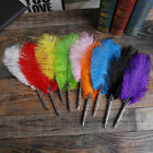 Vintage 0.5mm Ostrich Feather Quill Pen Metal Writing Supplies Gifts