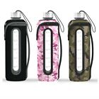 32 Oz Glass Water Bottle Time Marked Insulated Carry Sleeve Reusable Leak Proof