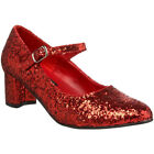 Funtasma Halloween Costume Shoe Red Glitter Retro Mary Jane School Girl Shoes