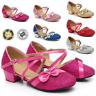 Girls Kids Childrens Mary Jane Glitter Low Heel Party Wedding Sandals Nice Shoes
