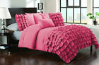 5 Piece Half Ruffled UK King Size Duvet Cover 800 TC 100% Egyptian Cotton