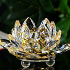 Lotus Crystal Glass Figure Paperweight Ornament Feng Shui Decor Collection Gift