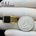 MEN's Stainless Steel Gold Black Square Onyx Greek Key Ring Size 8-12*AGR119