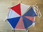 10FT (3M) Handmade Fabric Bunting - blues and reds Cotton - FREEPOST