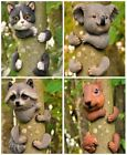 Novelty Resin Tree Hugger Hanging Peeker Hugging Animal Garden Ornament Decor UK