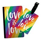LOVE IS LOVE LGBT RAINBOW FLIP PASSPORT AND LUGGAGE TAG HOLDER TRAVEL COVER