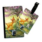 FOREST ANIMALS BAMBI INSPIRED FLIP PASSPORT AND LUGGAGE TAG HOLDER TRAVEL COVER