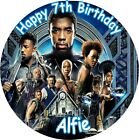 """MARVEL THE BLACK PANTHER ROUND 7.5"""" CAKE TOPPER ICING OR RICEPAPER"""