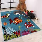 Kids Room Carpet Aqua Blue Dolphin Fish Ocean Theme Children Play Mat Soft Rug