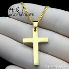"16-24""MEN 925 STERLING SILVER 1.5MM GOLD CUBAN CHAIN PLAIN CROSS PENDANT*AGP194"