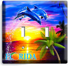 FLORIDA PALMS OCEAN DOLPHINS SUNSET LIGHT SWITCH OUTLET WALL PLATE HD ROOM DECOR