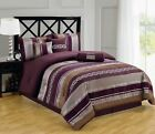 Luxury 7pc Claudia Purple & Brown Striped  Bedding Comforter Set - ALL SIZES