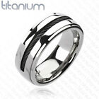 PERSONALIZED SILVER WITH BLACK ROPE INLAY TITANIUM RING CUSTOM ENGRAVED FREE 6mm