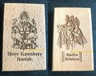 GANESHA MANTRA RADHA KRISHNA FRIDGE CARVED WOOD MAGNETS HINDU GOD GANESH GANPATI
