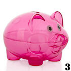 Clear NEW PIGGY Bank Coin Money Plastic Cash Openable Saving Box Kid Pig  jjvv