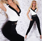 Sexy Women's Jumpsuit Black-White V-Neck Party Catsuit U.K Size 12