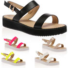 NEW WOMENS HEEL STRAP LADIES BACKLESS CHUNKY FLATFORM SANDALS SHOES SIZE 3-8