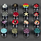 0 1/8-0 25/32in Picture Plug 16 Motive Ear Piercing Logo Flesh Tunnel Thread