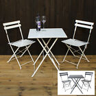 3pc Folding Bistro Sets Metal Garden Furniture Outdoor Patio 2 Chairs & Table