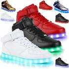 Unisex High Top LED Light Lace Up Luminous Shoes Sneaker Casual Shoes Red White