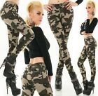 Womens Army Military Camouflage Skinny Stretch Combat Cargo Trousers UK 6-14