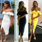 UK Womens Strappy Bardot Bodycon Party Deep V Plunge Ladies Midi Dress Size 6-16