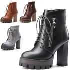 Womens Lace Up Platform Chunky High Heels Lug Sole Combat Military Ankle Booties
